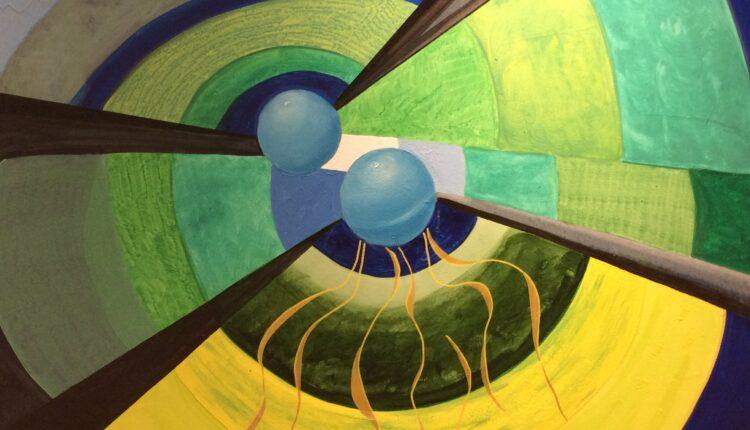 Andrea Giostra Francesca Romana Fragale_Onde gravitazionali_80x100_olio e acrilico su tela_2019