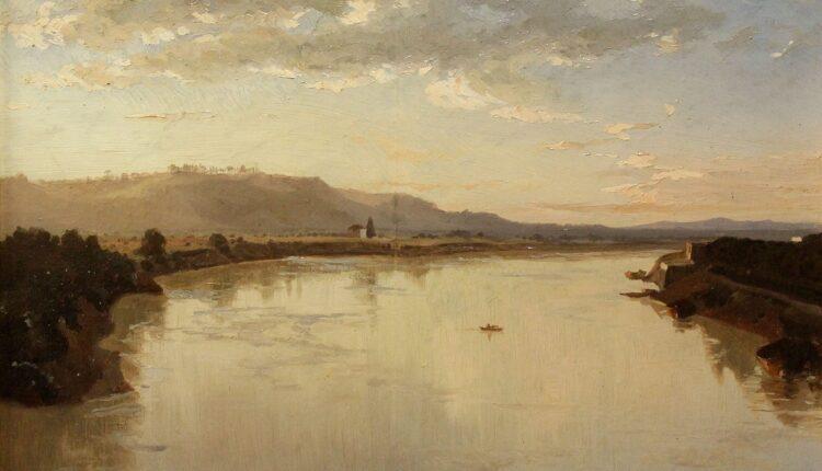 KARL LINDEMANN FROMMEL, Passeggiata di Poussin verso Monte Mario, olio su tela 1859